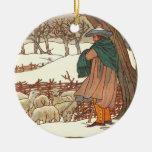 """Winter Song"" Round Ceramic Ornament"