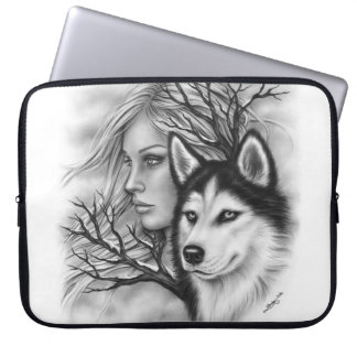 Winter Souls Husky Wolf Girl Laptop Sleeve