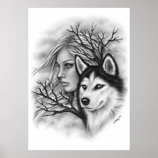 Winter Souls Wolf Husky Girl Poster