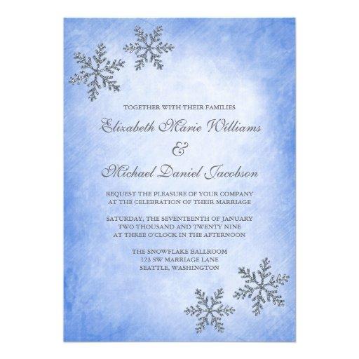 Winter Sparkle Snowflakes Blue Wedding Invitations 5 X 7 Invitation Card