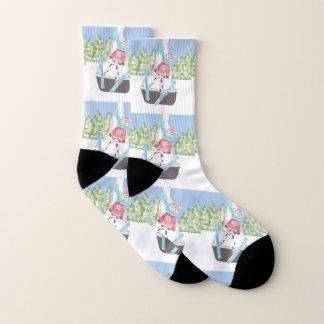 Winter sport - Ski jumping cow pattern socks