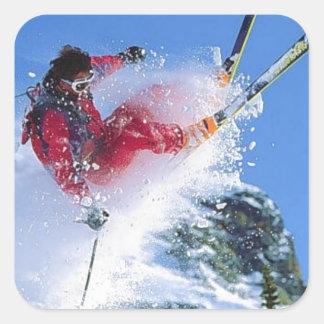 Winter sports, extreme ekiing square sticker