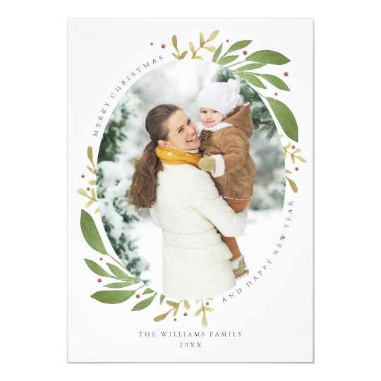 Winter Sprigs Christmas Photo Card