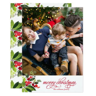 Winter Sprigs of Holly Photo Card
