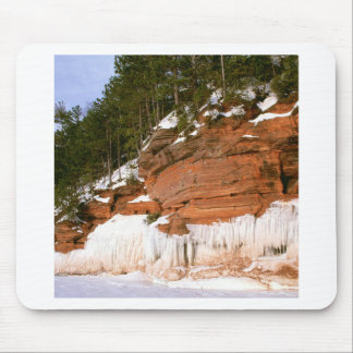 Winter Squaw Bay Sea Caves Wisconsin Mouse Pad
