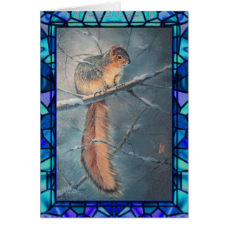 WINTER SQUIREL & STAINED GLASS by SHARON SHARPE Card