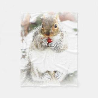 winter squirrel fleece blanket