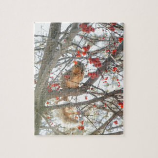 Winter Squirrel In Berry Tree Jigsaw Puzzle