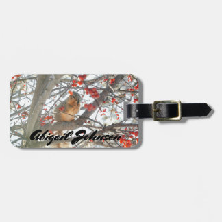 Winter Squirrel In Berry Tree Luggage Tag