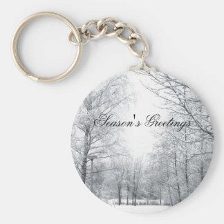 Winter starts here basic round button keychain