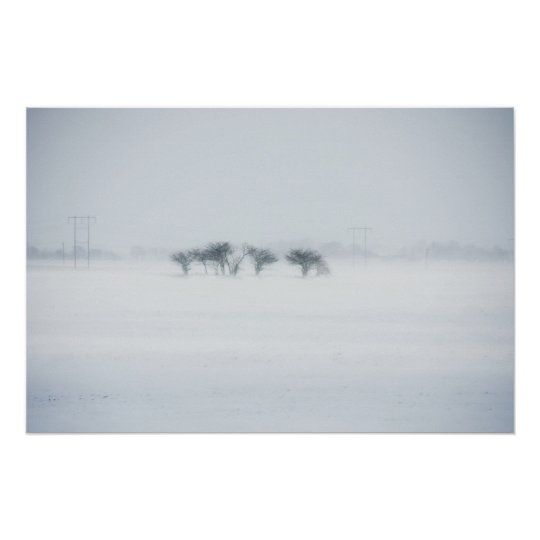 Winter storm landscape poster