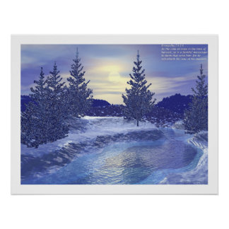 Winter Stream #2 with Proverbs  Poster