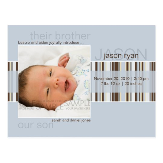 Winter Stripes Blue • Baby Announcement Postcard