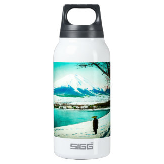 Winter Stroll Beneath Mt. Fuji 富士山 Vintage Japan Insulated Water Bottle