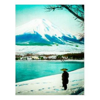 Winter Stroll Beneath Mt. Fuji 富士山 Vintage Japan Postcard