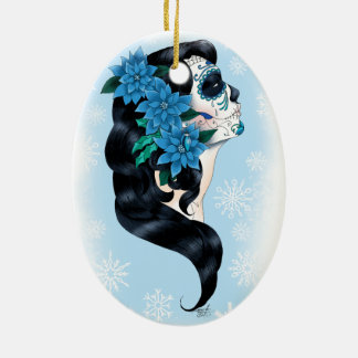 Winter Sugar Skull Ceramic Oval Ornament