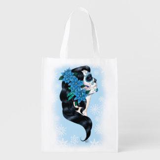 Winter Sugar Skull Grocery Bags