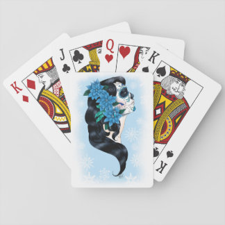Winter Sugar Skull Playing Cards