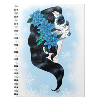 Winter Sugar Skull Spiral Notebook