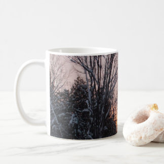 Winter Sun Setting behind Trees Coffee Mug