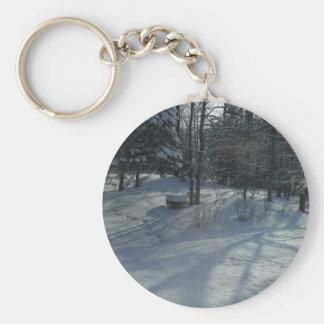 Winter Sunrise Basic Round Button Keychain