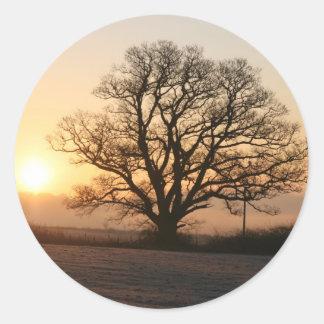 Winter Sunrise Classic Round Sticker