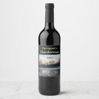 Winter Sunrise Pond White Wine Label