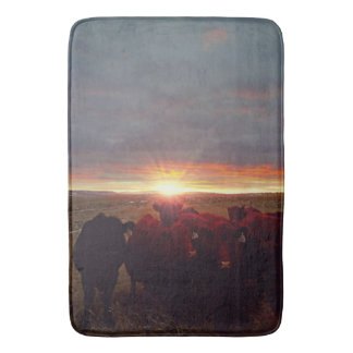 Winter Sunset at Nght Feed Cattle Bath Mat
