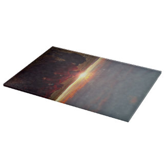 Winter Sunset at Nght Feed Cattle Cutting Board