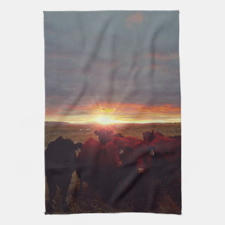 Winter Sunset at Night Feed Kitchen Towel