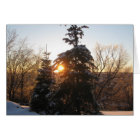 Winter sunset with evergreens card