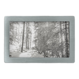 Winter Sunshine Forest Shades Of Gray Rectangular Belt Buckles