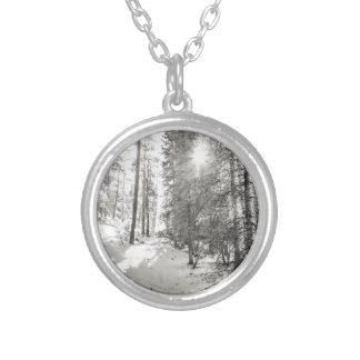 Winter Sunshine Forest Shades Of Gray Silver Plated Necklace