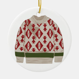Winter Sweater Round Ceramic Ornament