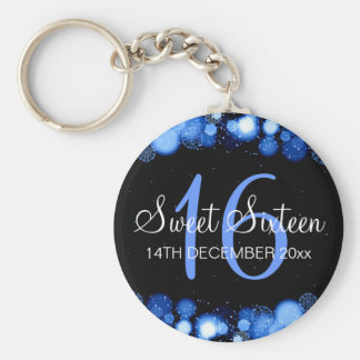 Winter Sweet 16 Birthday Party Blue Bokeh Lights Basic Round Button Keychain