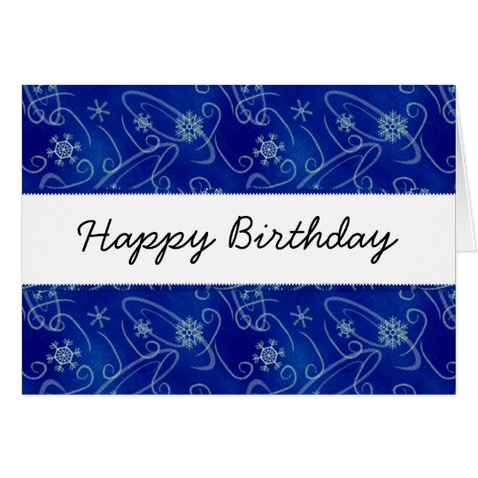 Winter Swirls & Snowflakes Happy Birthday Card