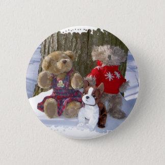Winter teddies with pup 2 inch round button