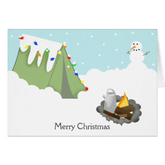 WINTER TENT CAMPING CHRISTMAS CARD