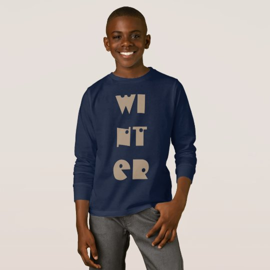 Winter Text Funny Typography Season Navy Blue T-Shirt