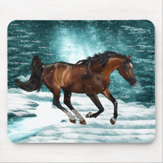 Winter Theme Galloping Arabian Horse Mouse Pad