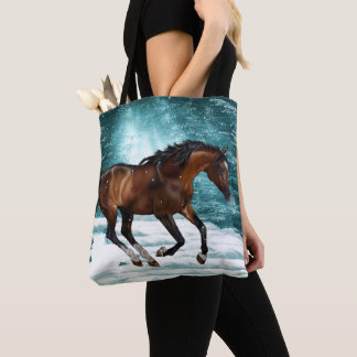 Winter Theme Galloping Arabian Horse Tote Bag