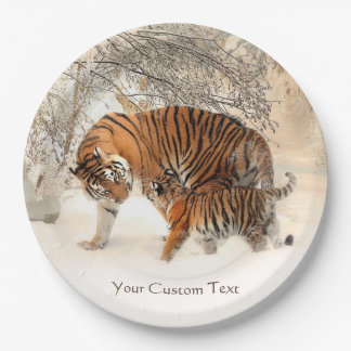 Winter Tigers custom paper plates