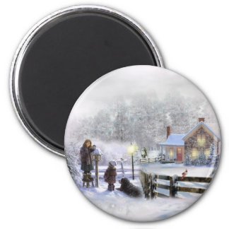 Winter Time In The Country 2 Inch Round Magnet