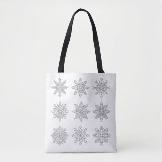 Winter tote bag with snowflakes