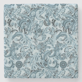Winter traditional paisley floral blue pattern DIY Stone Coaster
