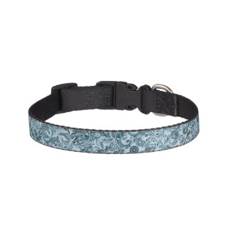 Winter traditional paisley floral blue pattern dog collar