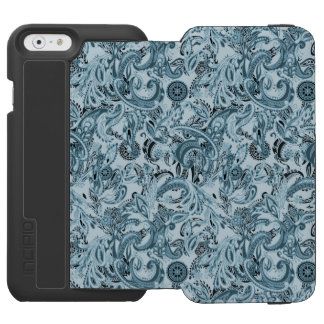 Winter traditional paisley floral blue pattern incipio watson™ iPhone 6 wallet case