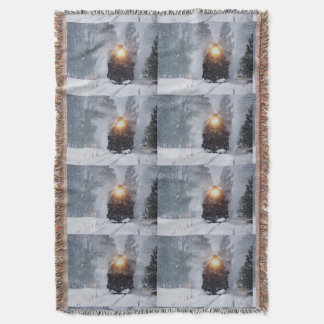 Winter train Throw Blanket