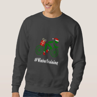 Winter training custom text xmas cyclist sweatshirt