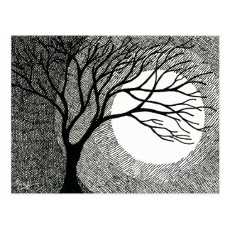 Winter Tree and Moon in Black and White Postcard